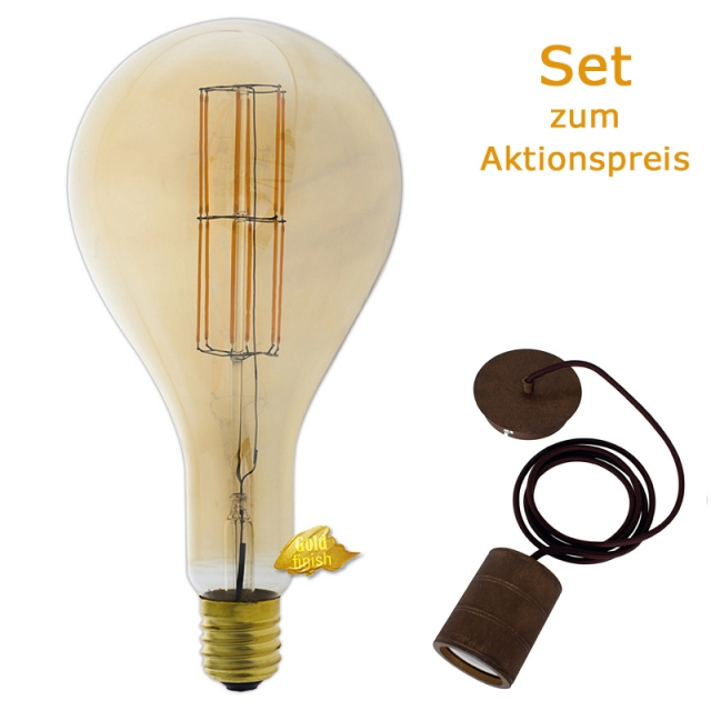Edi-LED HOYER® Big Drop BDR160/320 E40 Gold finish mit Lampenfassung-Set bronze