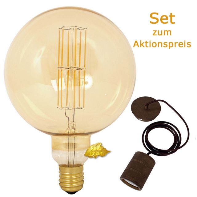Edi-LED HOYER® Big Sphere BSP200/290 E40 Gold finish mit Lampenfassung-Set bronze