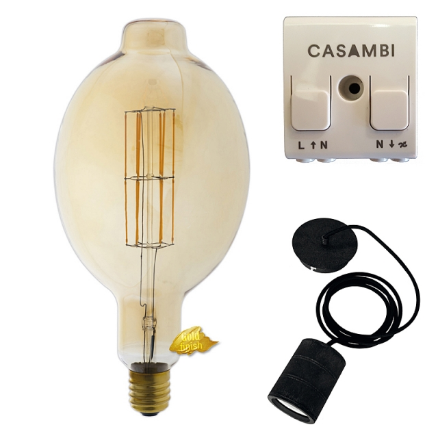 Edi-LED HOYER® Big Macara BMA180/365 E40 Gold finish mit Lampenfassung-Set schwarz und Casambi Dimmer