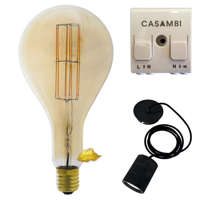 Edi-LED HOYER® Big Drop BDR 160/320 E40 Gold finish mit Lampenfassung-Set schwarz und Casambi Dimmer