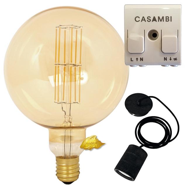 Edi-LED HOYER® Big Sphere BSP 200/290 E40 Gold finish mit Lampenfassung-Set schwarz und Casambi Dimmer