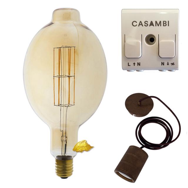 Edi-LED HOYER® Big Macara BMA180/365 E40 Gold finish mit Lampenfassung-Set bronze und Casambi Dimmer