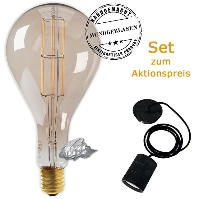 Edi-LED HOYER® Big Drop BDR160/320 E40 Dark-Gold-Titan finish mit Lampenfassung-Set schwarz