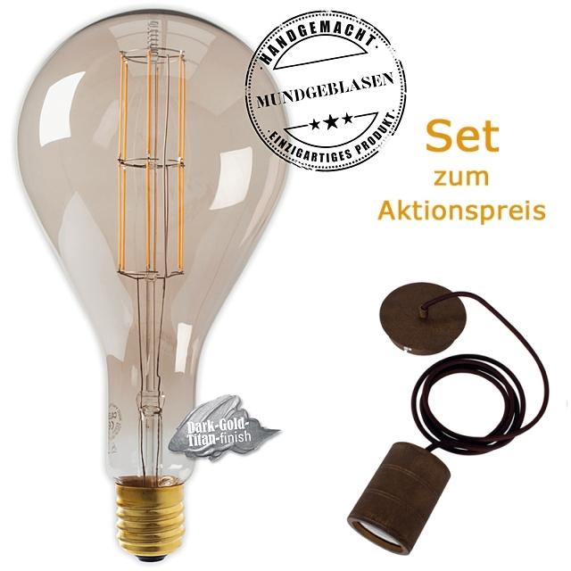Edi-LED HOYER® Big Drop BDR160/320 E40 Dark-Gold-Titan finish mit Lampenfassung-Set bronze