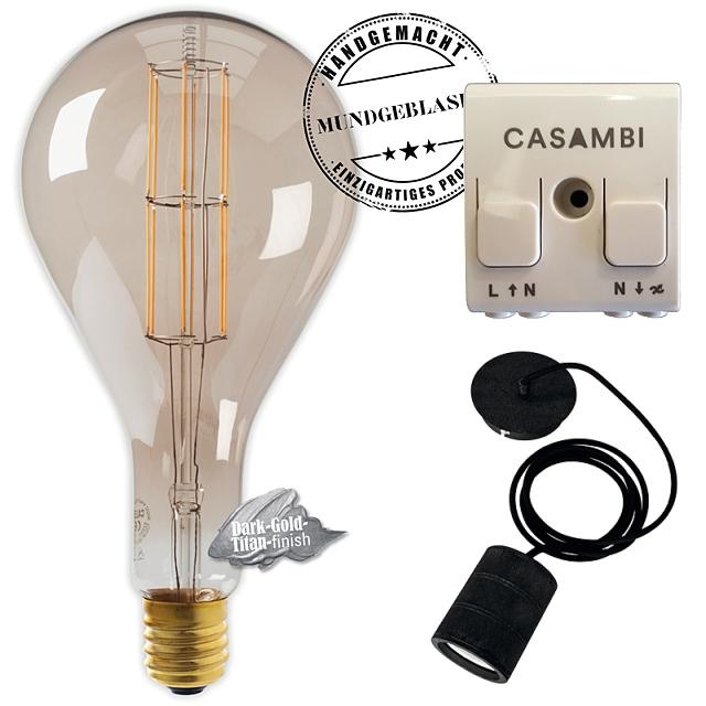 Edi-LED HOYER® Big Drop BDR 160/320 E40 Dark-Gold-Titan finish mit Lampenfassung-Set schwarz und Casambi Dimmer