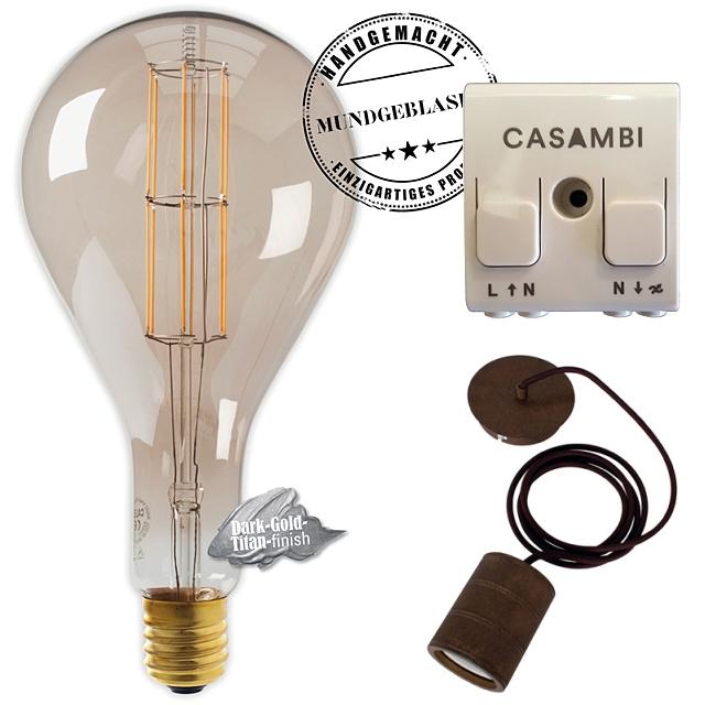 Edi-LED HOYER® Big Drop BDR 160/320 E40 Dark-Gold-Titan finish mit Lampenfassung-Set bronze und Casambi Dimmer