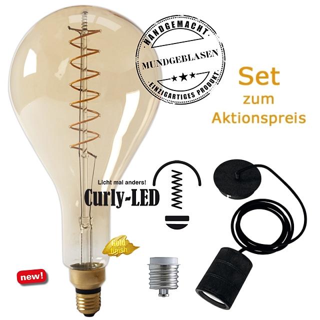 Edi-LED HOYER® Big Drop Curly-LED BDRCURLY160/330 E27 Gold finish + Adapter E40 + Lampenfassung-Set schwarz