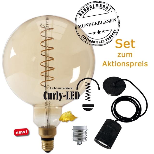 Edi-LED HOYER® Big Sphere Curly-LED BSPCURLY200/300 E27 Gold finish + Adapter E40 + Lampenfassung-Set schwarz